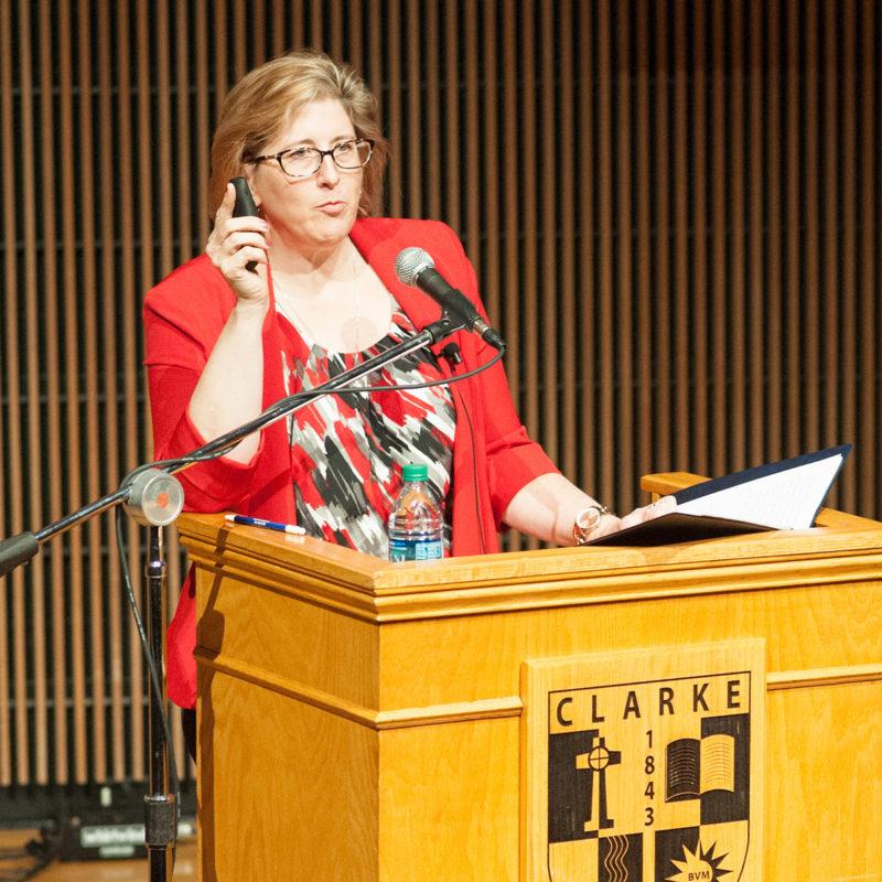 Donna Ewy giving a speech