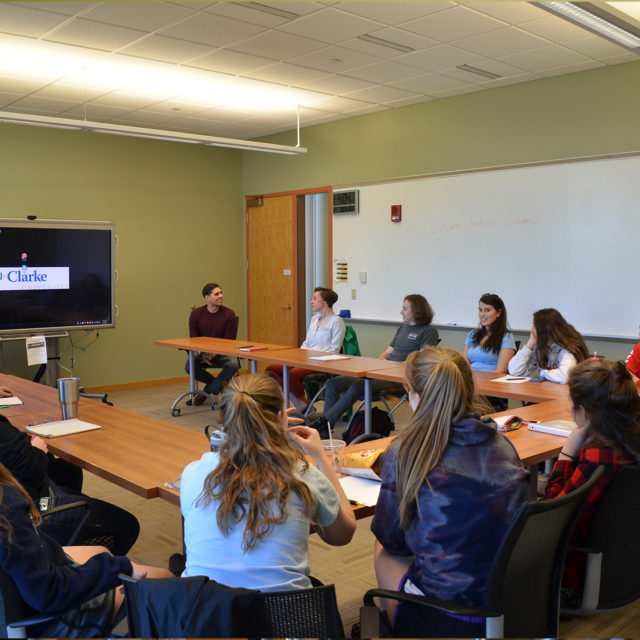 English Degree students in class at Clarke University