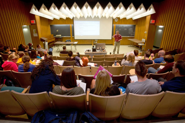 A Psychology Class in Alumnae lecture hall at Clarke University