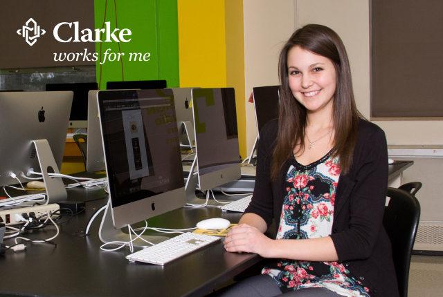 Clarke student Karan in the graphic design lab