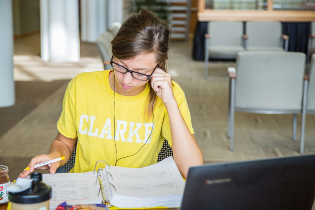 Student studying in the library