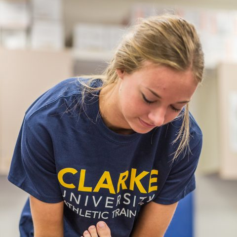 Athletic training students are given hands-on experience in each class.