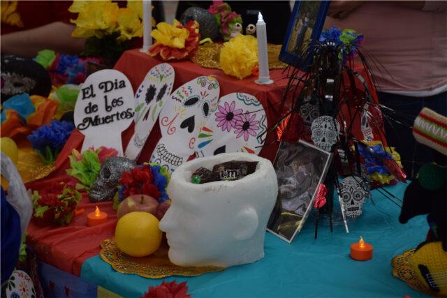 Dia De Los Muertos decorations by Spanish Language and Culture minor students at Clarke University