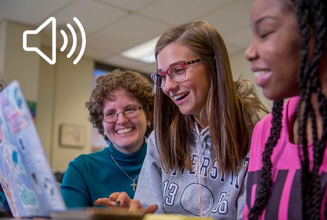 Amanda Matson creates sound bit to mimic classroom buzz