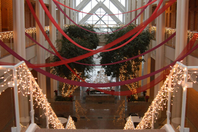 Atrium decorated for holidays