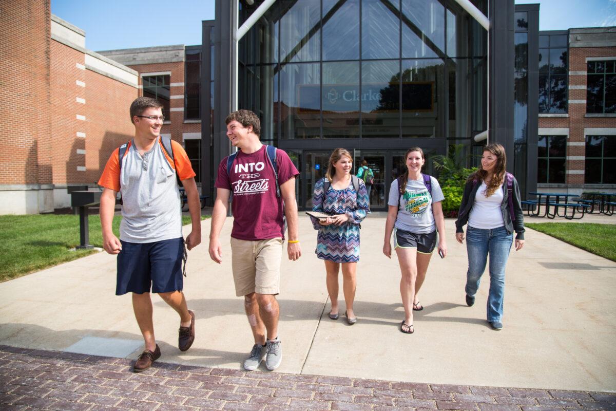 Students leaving the atrium