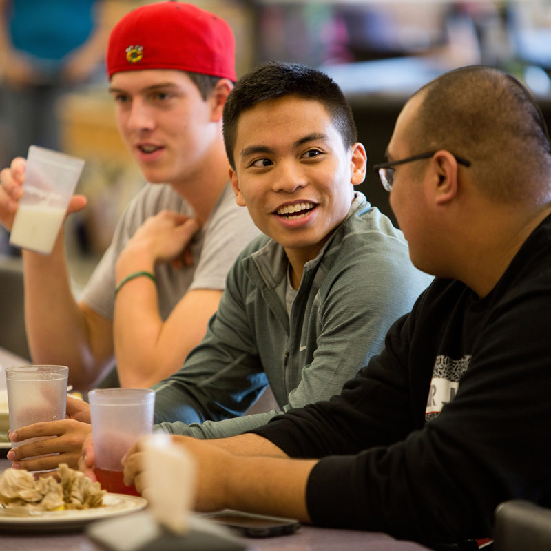 Clarke students enjoying a meal at the dining hall