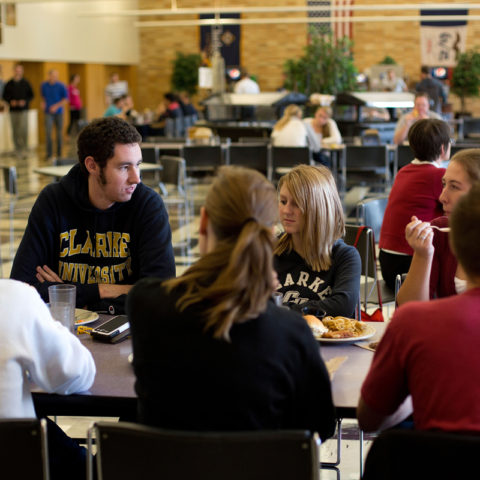Clarke students eating at the dining hall