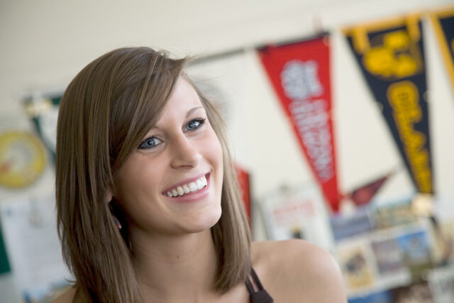 Clarke University Student in her dorm on campus in Dubuque, Iowa.