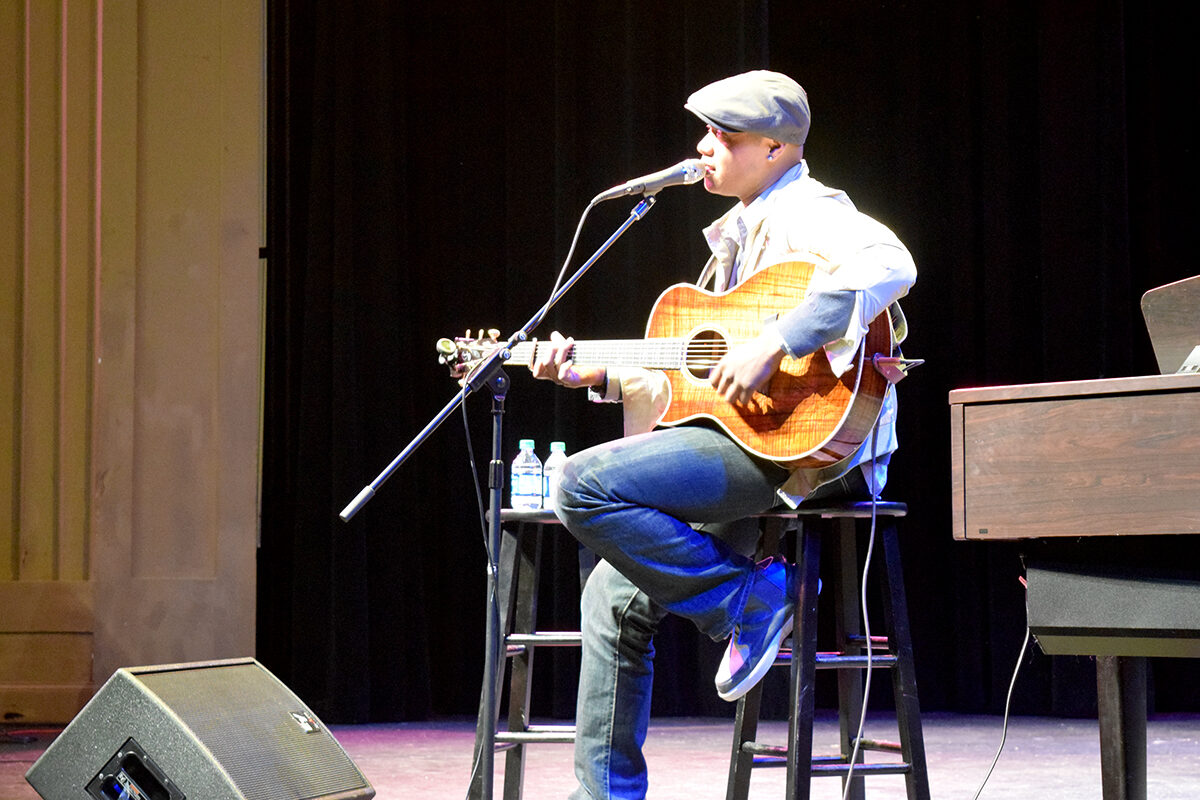 Javier Colon performing at Clarke