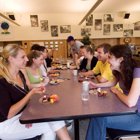 Students eating in the cafeteria
